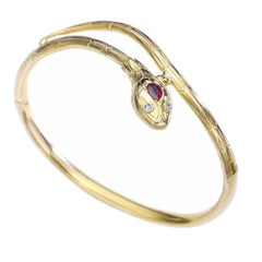 Antique Ruby Diamond Rose Cut Yellow Gold Snake Bangle Bracelet