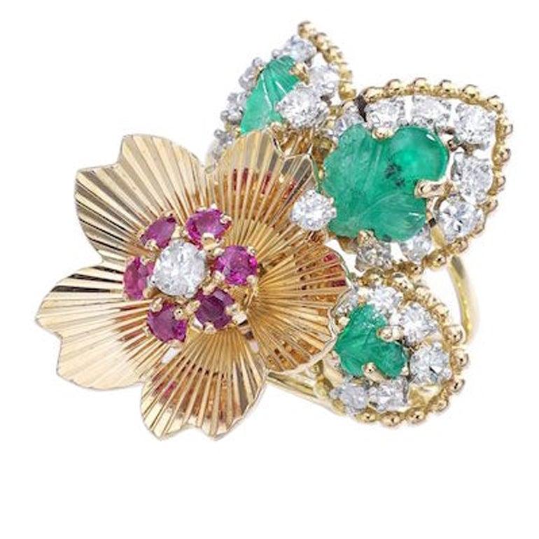 1950s Diamond Ruby Emerald Gold Flower Ring