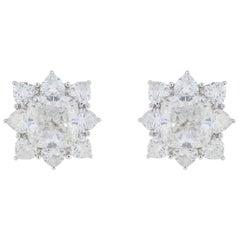 GIA Certified 10.03 Carat Cushion Diamond Earrings