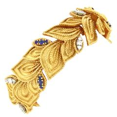 French Fifties Sapphire Diamond and Gold Bracelet