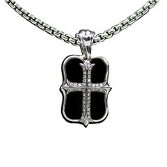 Stephen Webster No Regrets Sterling Silver Diamond & Onyx Dog Tag Necklace