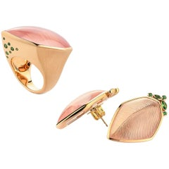 Rose Quartz Tsavorite Gold Leaf Wagner Collection Ring and Stud Earrings Set