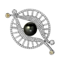 Tahitian Pearl Diamond Gold Eye Brooch