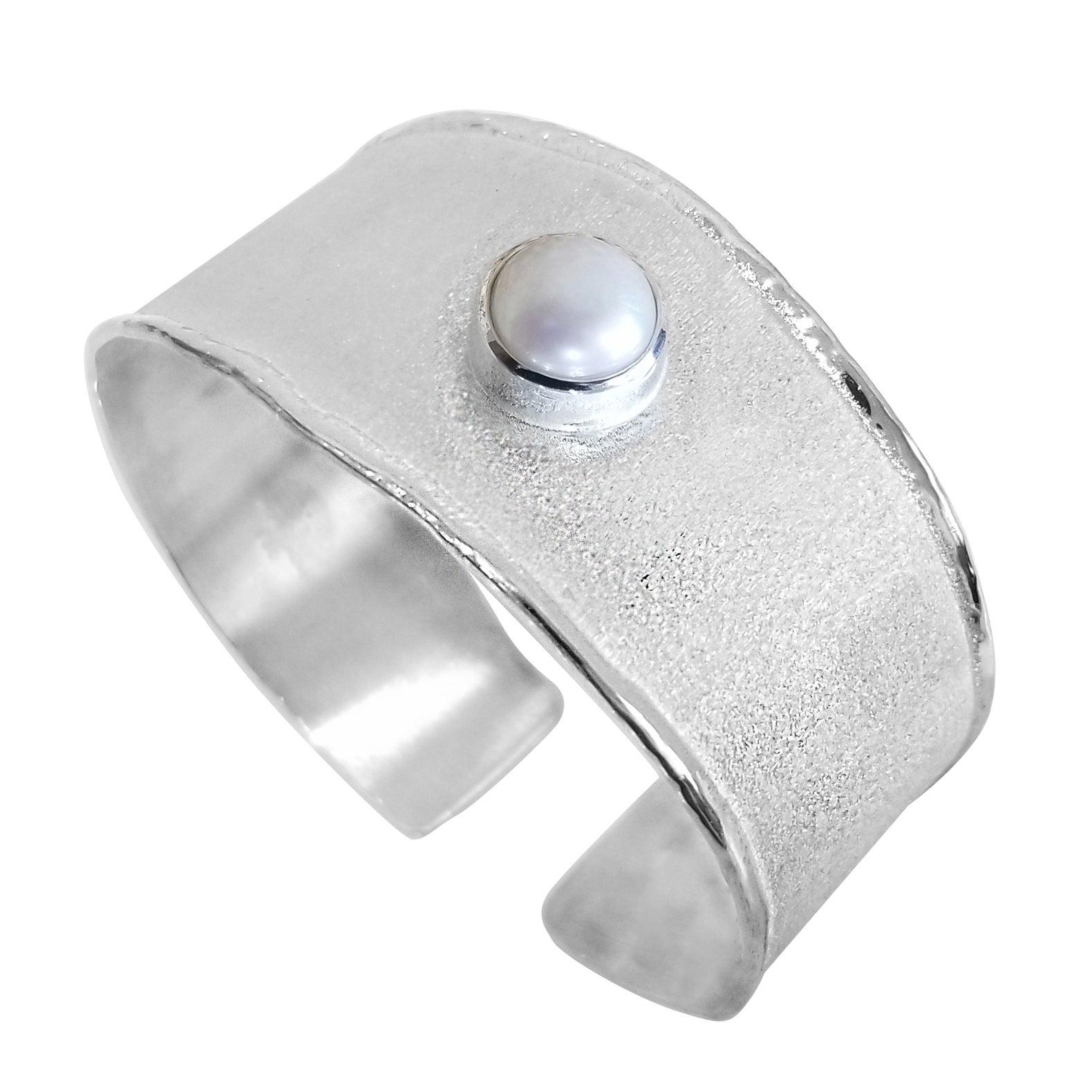 Yianni Creations Freshwater Pearl Fine Silver and Palladium Bangle Bracelet