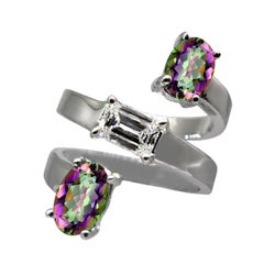 Drew Pietrafesa White Gold Diamond and Mystic Topaz Snake Ring