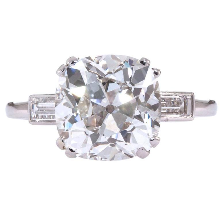 Janesich 5.16 Carat H/VS2 GIA Old Cushion Brilliant Diamond Ring
