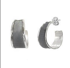 Yianni Creations Fine Silver and Oxidized Rhodium Handmade Artisan Hoop Earrings