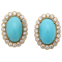 1960s Sleeping Beauty Color Turquoise with Diamonds Elegant Gold Earrings