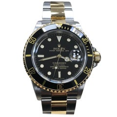 Rolex Submariner Black 16613 18K Yellow Gold & Stainless Steel Mint Box & Papers