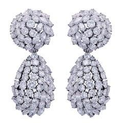 25 Carat Diamond Platinum Ear Clips