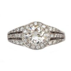 GIA Certified 1.11 Carat Diamond Platinum Engagement Ring