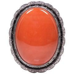 Handmade Platinum Diamond, Onyx and Coral Ring