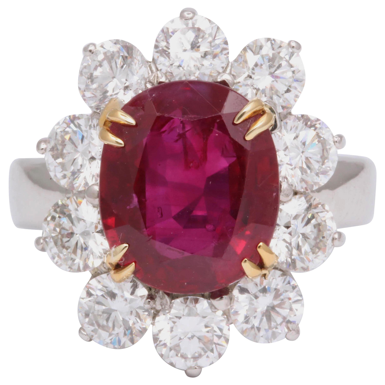 5 Carat No Heat Burma Ruby Diamond Ring