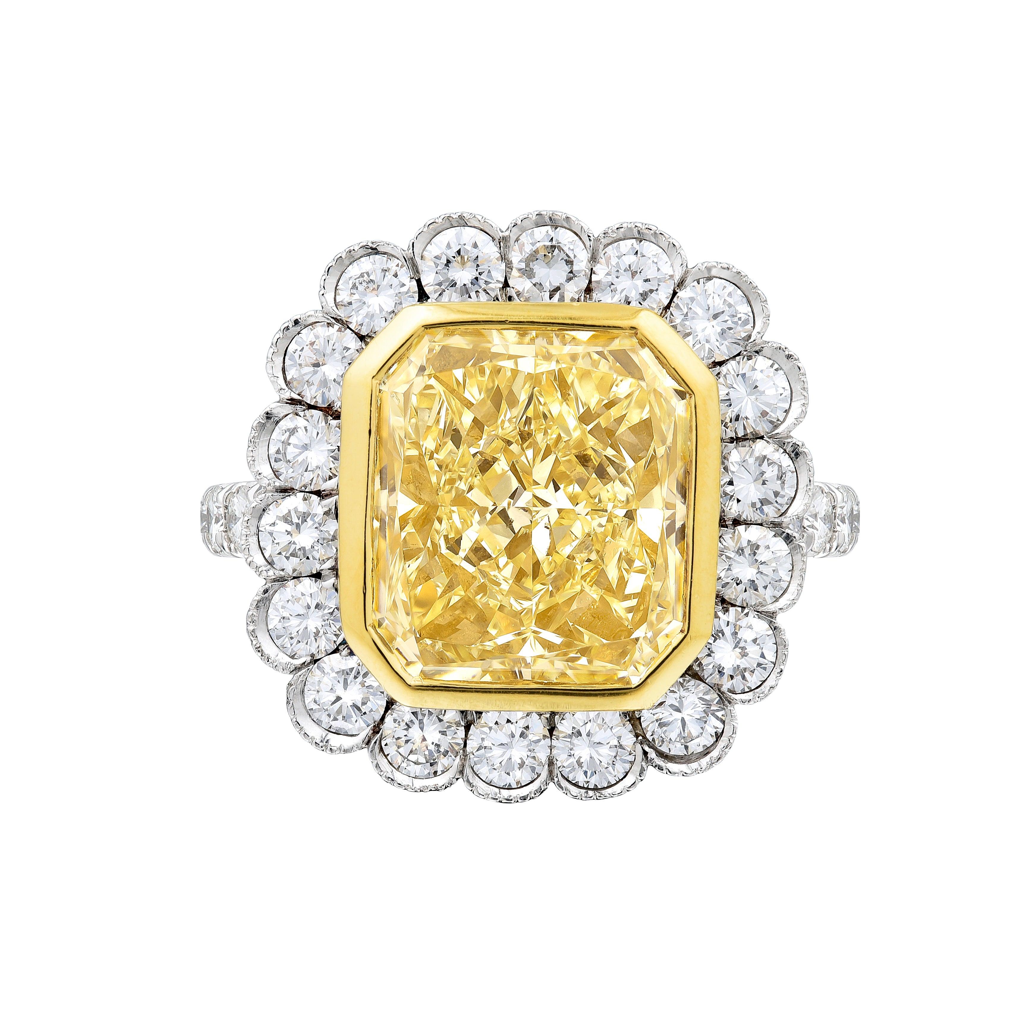 GIA Certified 4.02 Carat Radiant Fancy Yellow Diamond Engagement Platinum Ring