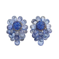 Sapphire Cluster Ear-Clips
