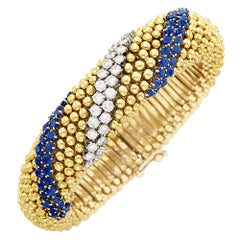 Gold Sapphire Diamond Bracelet