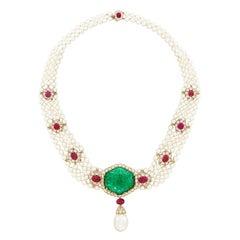 Van Cleef & Arpels Emerald Pearl Ruby Necklace