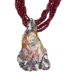 Naomi Sarna Pearl Pendant on Ruby Necklace