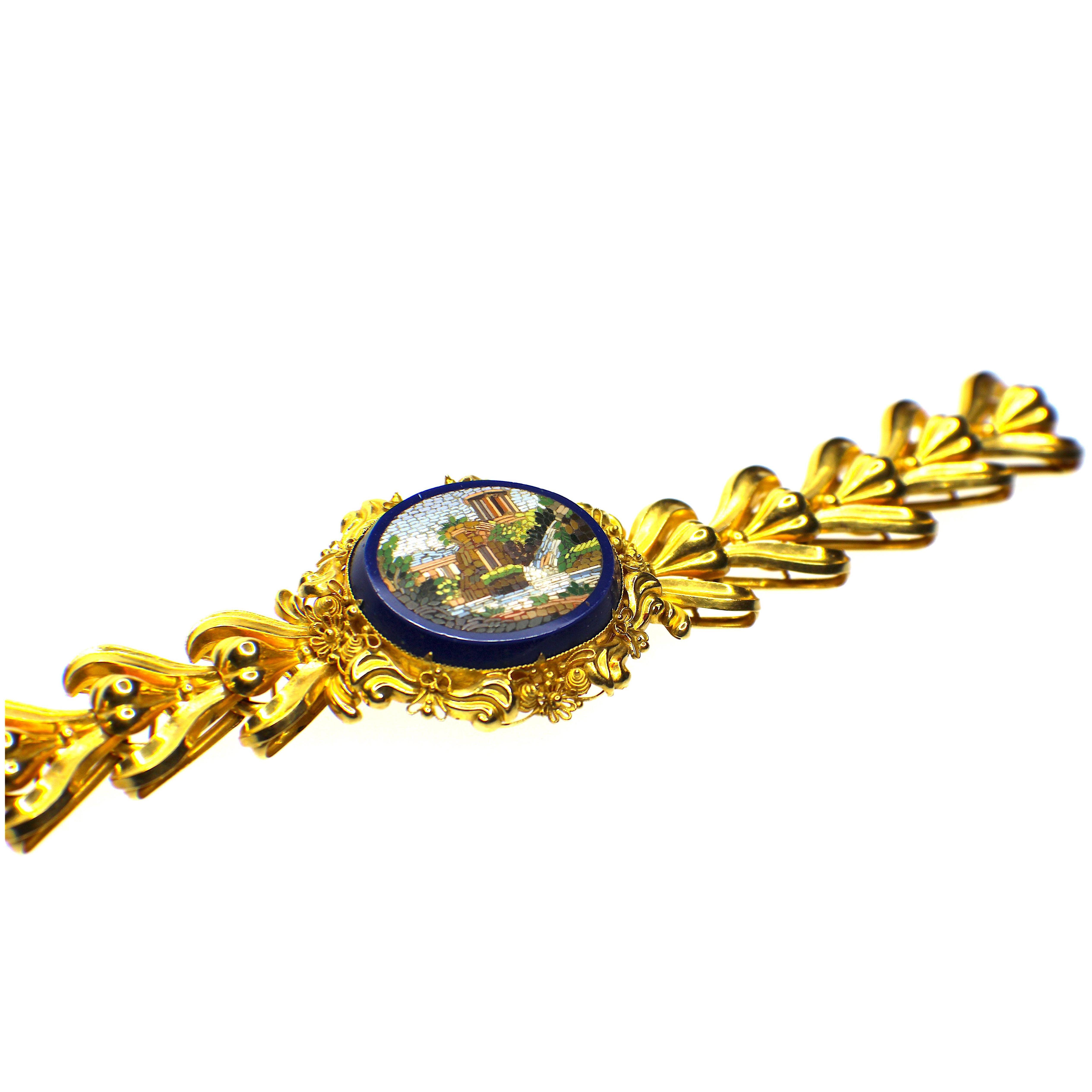 GEMOLITHOS Antique Micro-Mosaic Gold Bracelet, mid 19th Century