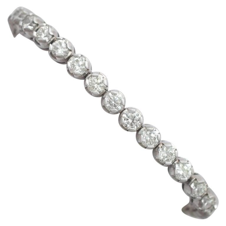 10.01 Carat Diamond White Gold Tennis Bracelet 1