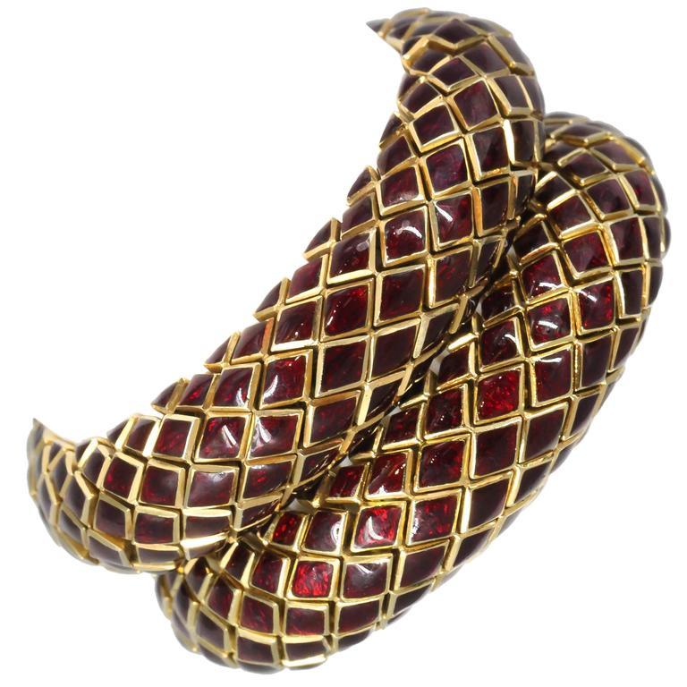 David Webb Pair of Enamel Gold Snake Link Bracelets