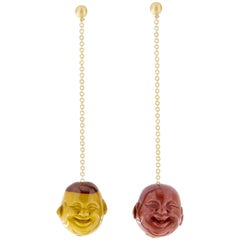 Jona 18 Karat Yellow Gold Jasper Smile Face Pendant Earrings