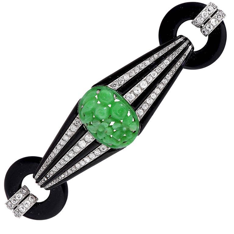 French Art Deco Jade Enamel Onyx Diamond Platinum Brooch For Sale