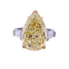 10 Carat Fancy Yellow Pear Shape Ring GIA Certified