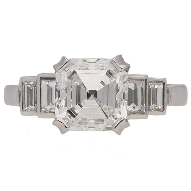 Art Deco Asscher Cut Diamond Ring of 2.53 Carat circa 1935
