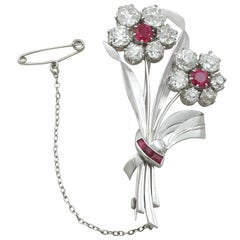 6.85Ct Diamond and 1.10Ct Ruby, Platinum Brooch - Antique and Vintage