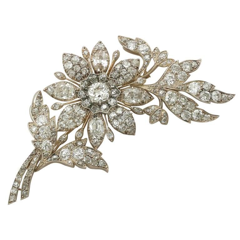 1890s Victorian 14.68 Carat Diamond Yellow Gold Floral Brooch 1