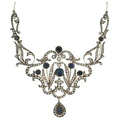 Antique Sapphire Diamond Necklace Former Property Chaliapin