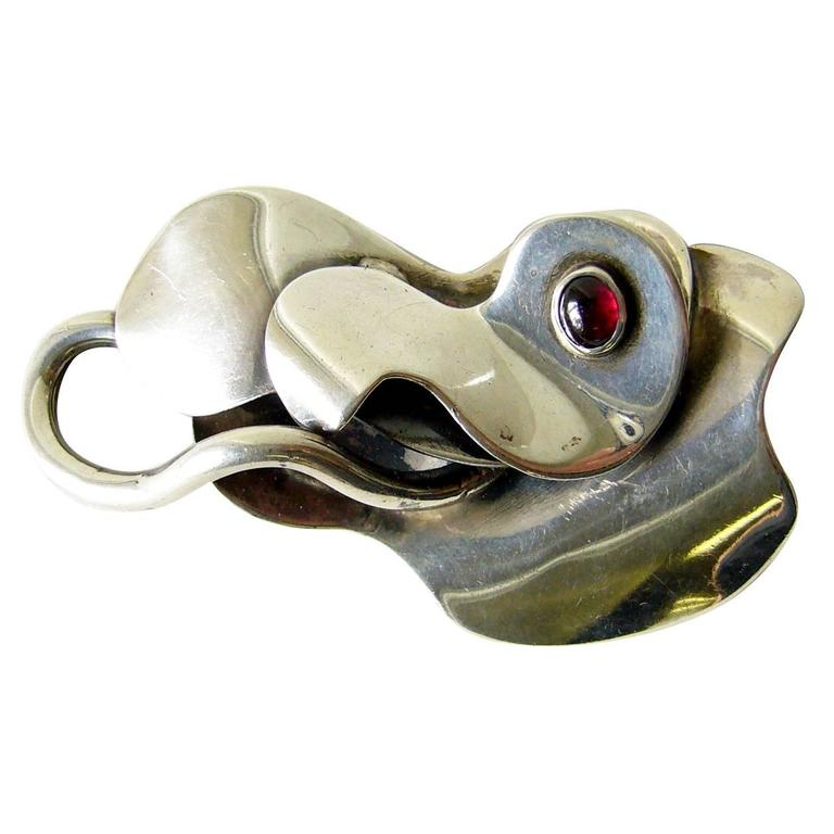 Rare Hurst Kingsbury Garnet Sterling Silver Surrealist Brooch