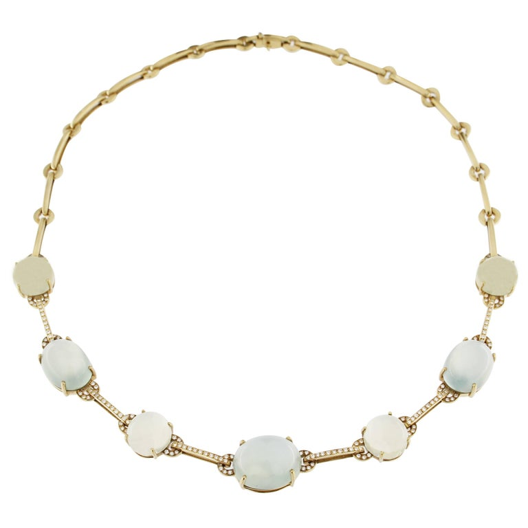 Jona Prehnite Citrine White Diamond 18 Karat Yellow Gold Necklace