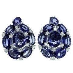 Purple Iolite Diamond Gold Cluster Earrings