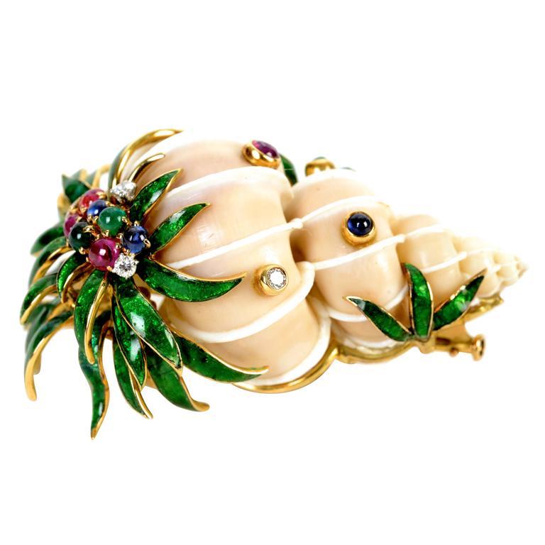 David Webb Rare Enameled Jeweled Gold Shell Brooch