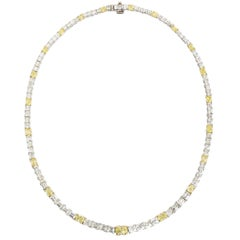 26.50 Carat Natural Yellow and White Oval and French Cut Diamond Necklace