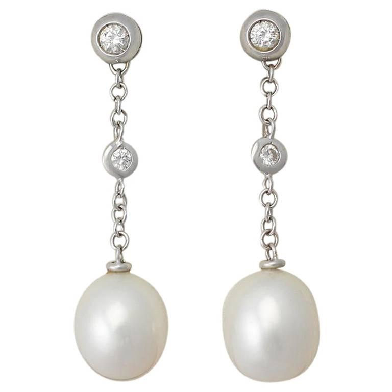 South Sea Pearl & 0.10Ct Diamond, 18k White Gold Earrings - Vintage Circa 1990