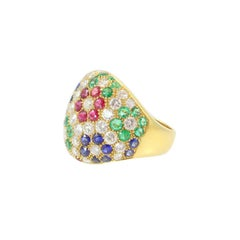 Emerald Sapphire Ruby Diamond Gold Bombe Flower Ring