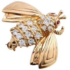 Tiffany & Co. Ruby Diamond Gold Bee Pin