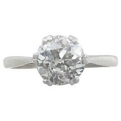 1910s 2.31 Carat Diamond and Platinum Solitaire Ring