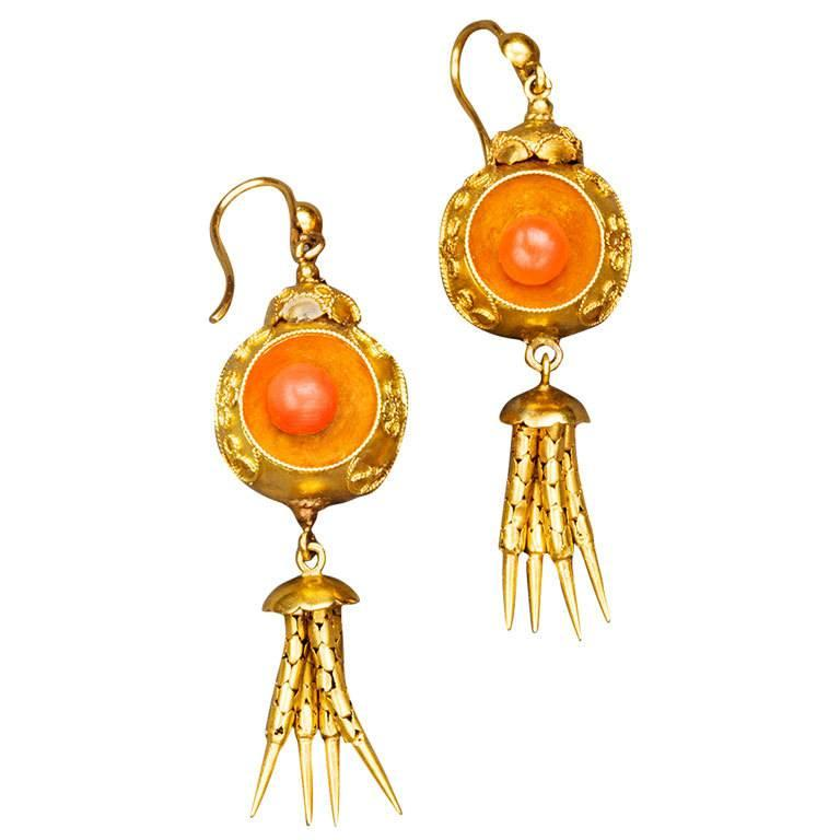 Victorian Coral 18k Gold Chandelier Earrings, circa 1870 For Sale