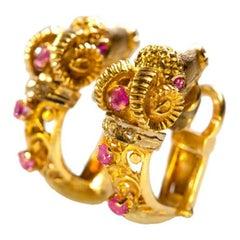 Greek Ruby Diamond Gold Ram's Head Earrings, 20th century