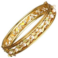 Arts and Crafts Enamel Pearl Gold Bangle Bracelet