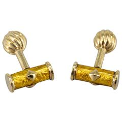 Tiffany & Co. Schlumberger Yellow Enamel and Gold Cufflinks