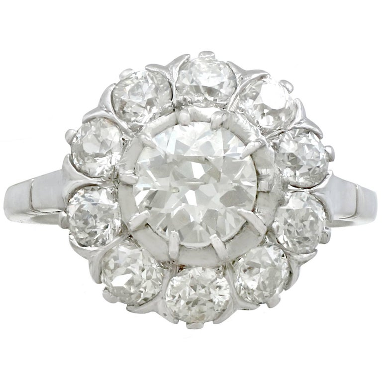 1920s Antique 2.36 Carat Diamond and Platinum Cluster Ring