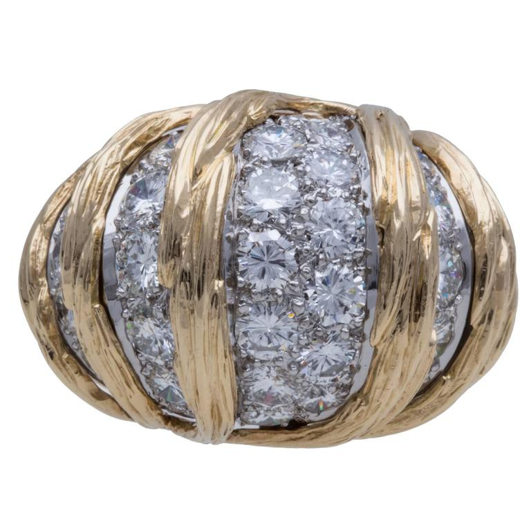 Van Cleef & Arpels Diamond Pave Gold Ring