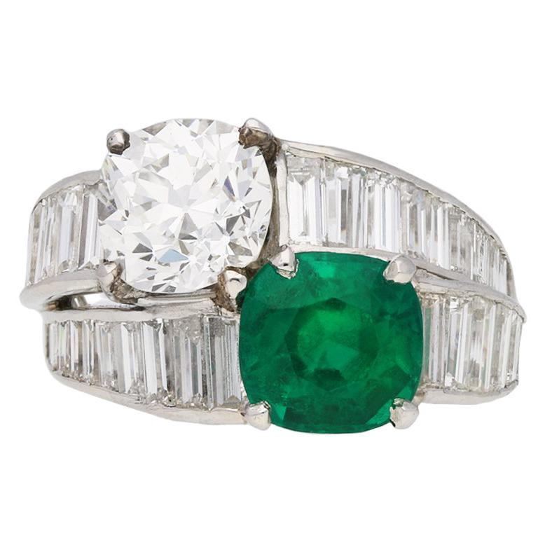 Tiffany & Co. Natural Unenhanced Emerald Diamond Ring