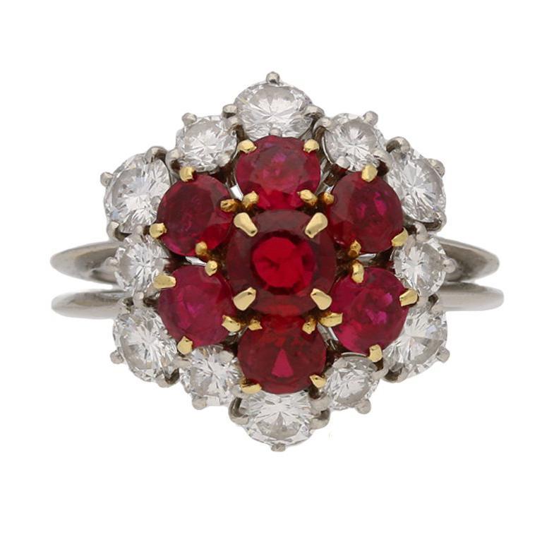 Boucheron Ruby Diamond Platinum Cluster Ring