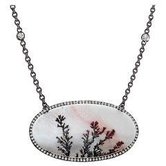 Lauren K. Natural Dendrite Agate White Diamond Black Gold Necklace
